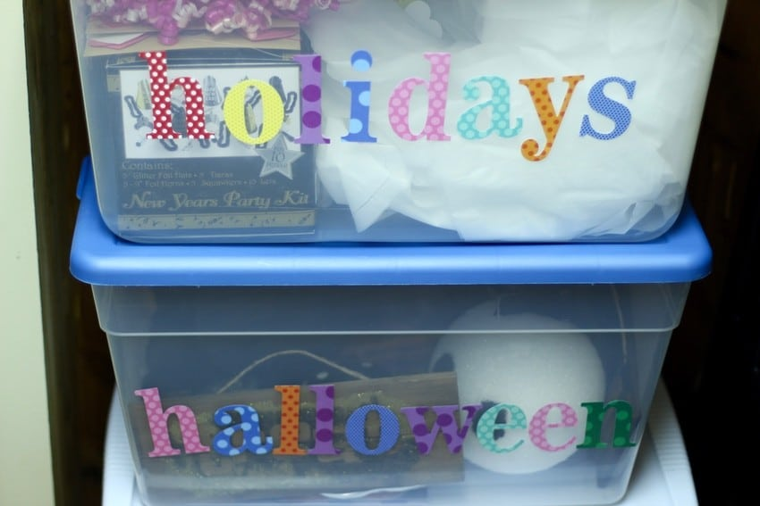 How To Organize A Storage Closet - Holiday Bins