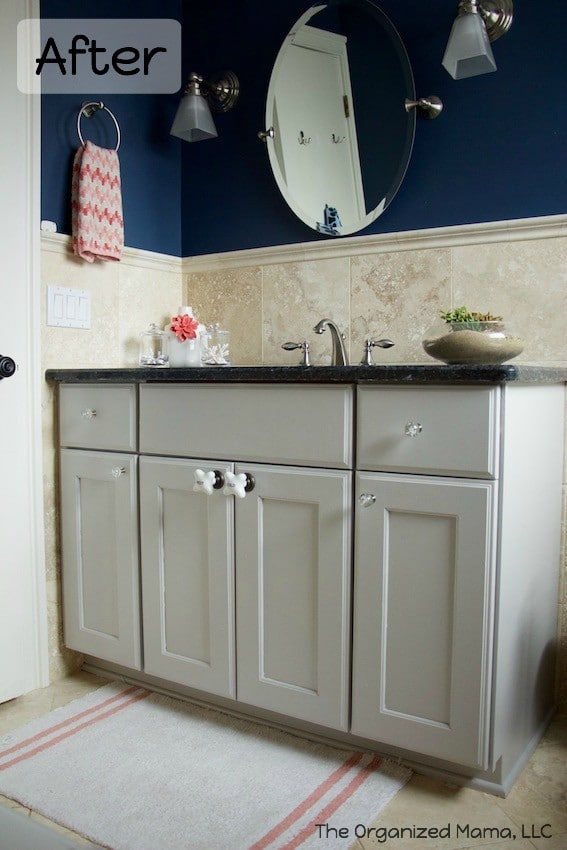 Navy Coral And Gray Kids Bathroom Reveal The Organized Mama