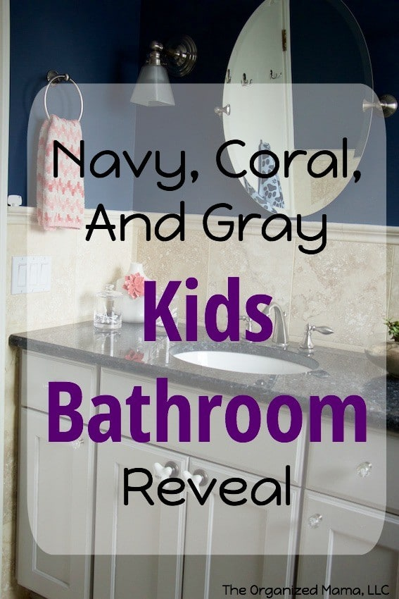 Navy Coral And Gray Kids Bathroom Reveal
