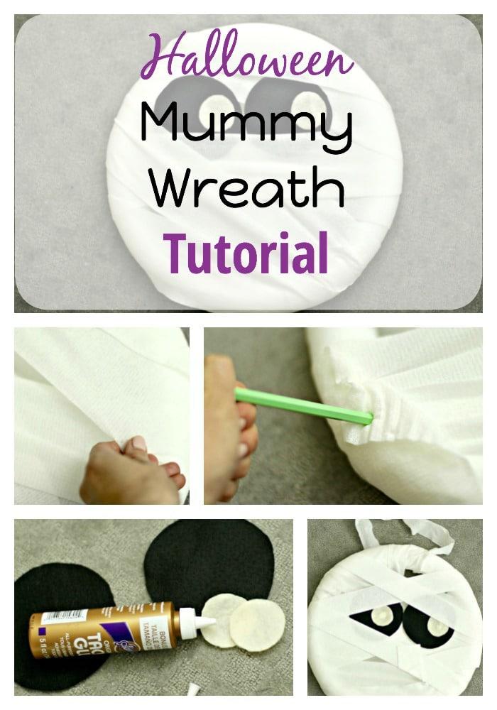 Halloween Craft Tutorial Mummy Wreath The Organized Mama