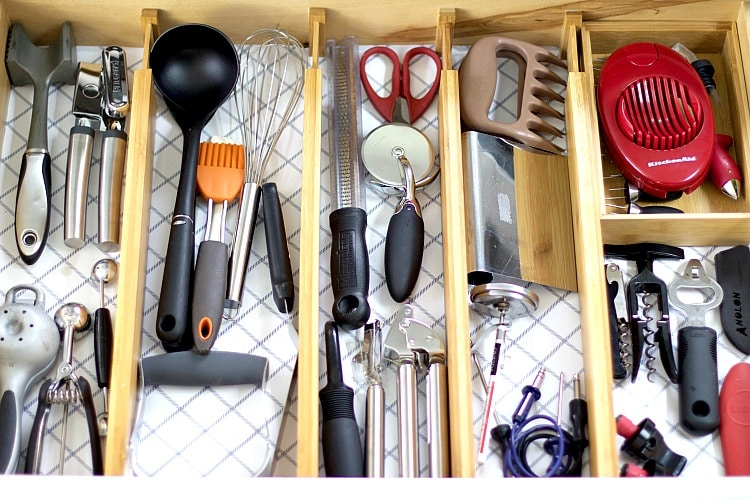 kitchen utensils drawer organization
