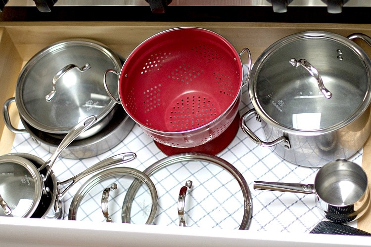 pots and pans drawer organization