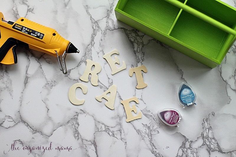 materials DIY kids desk caddy tutorial