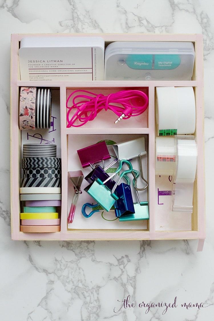 Custom drawer organizer tutorial for your desk the organized mama get that desk drawer organized with custom drawer organizers that you can make yourself use solutioingenieria Choice Image
