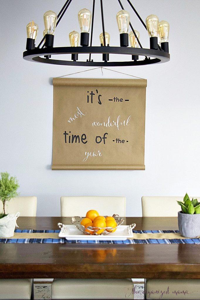 DIY Butcher Paper Holiday Wall Decor Tutorial - The Organized Mama