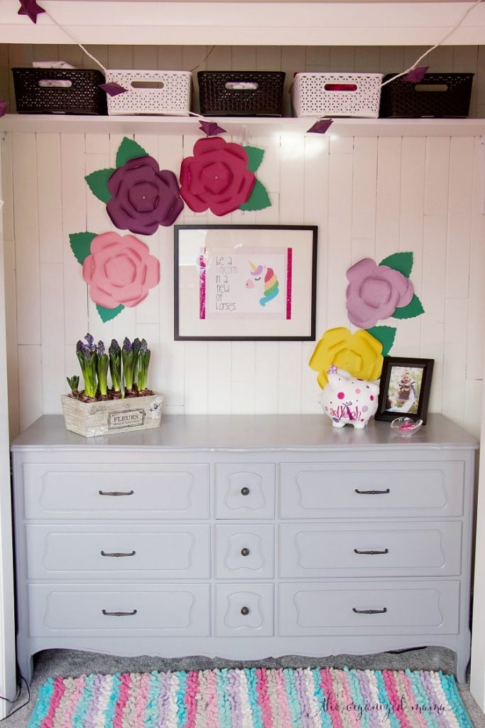 kids closet with drawers. Kids Closet Makeover Full Paper Flowers Unicorn Picture Dresser Painted Cedar Lining. Learn Tips With Drawers