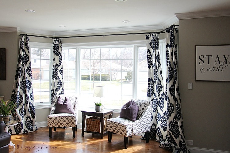 How To Hang Bay Window Curtains On An Oversized The Organized Mama