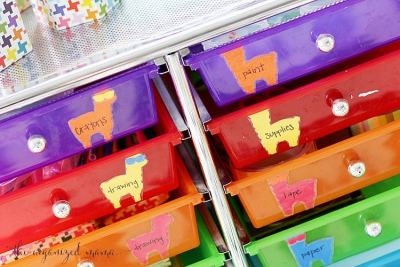 adhere llama labels to drawers